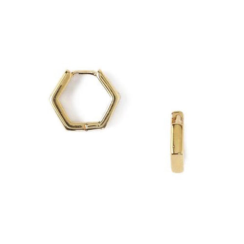 Hexagon Huggie Hoops Gold