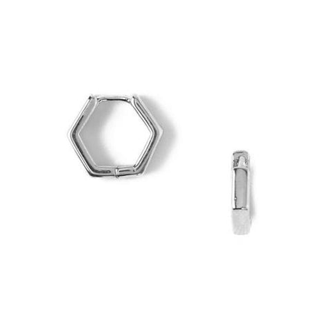 Hexagon Huggie Hoops Silver