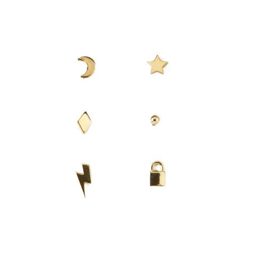 Mixed Charm 6pk Stud Earring Gold