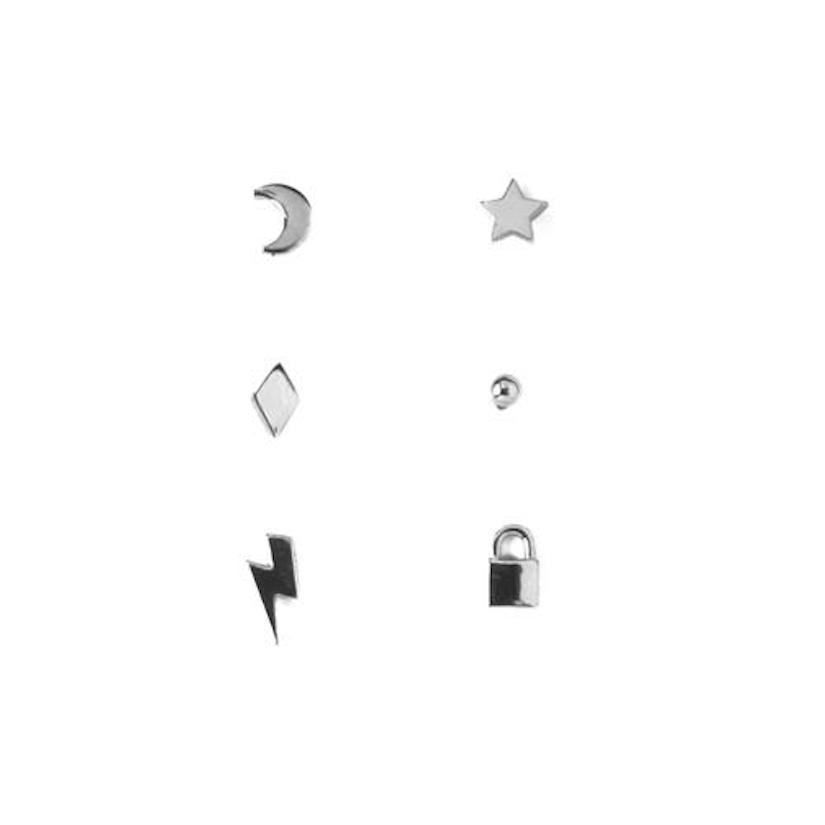 Mixed Charm 6pk Stud Earring Silver