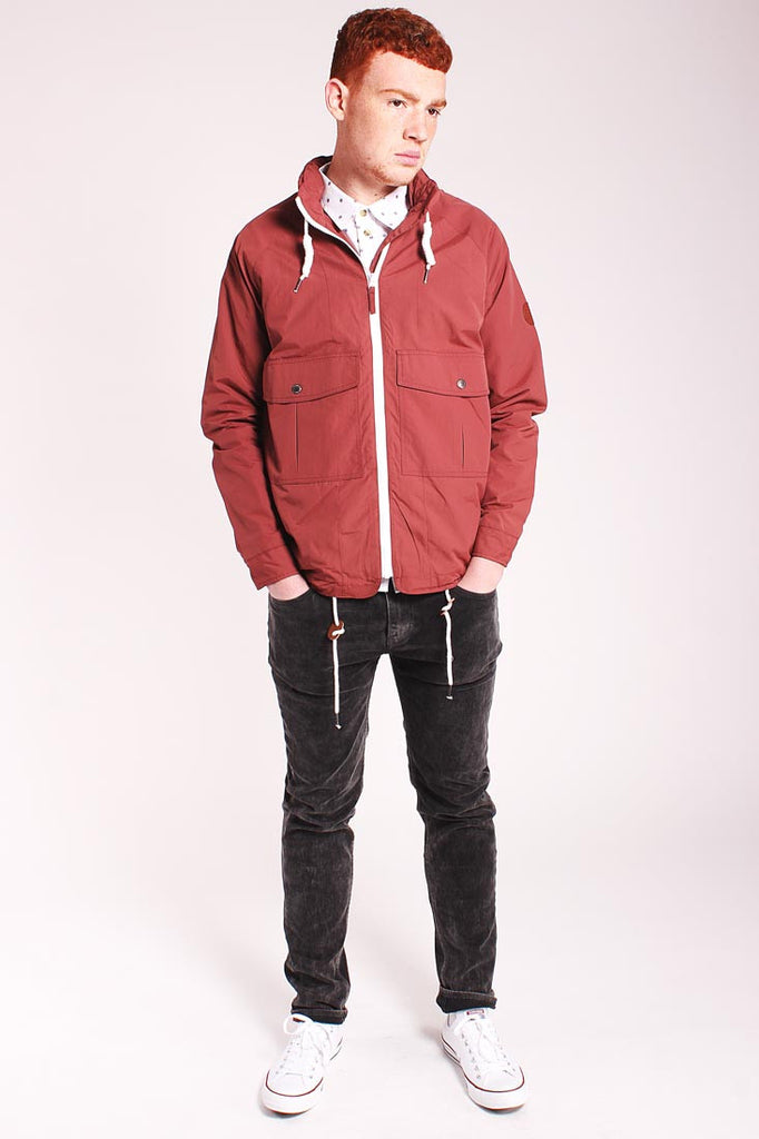 Native Youth zip collar burgundy raincoat