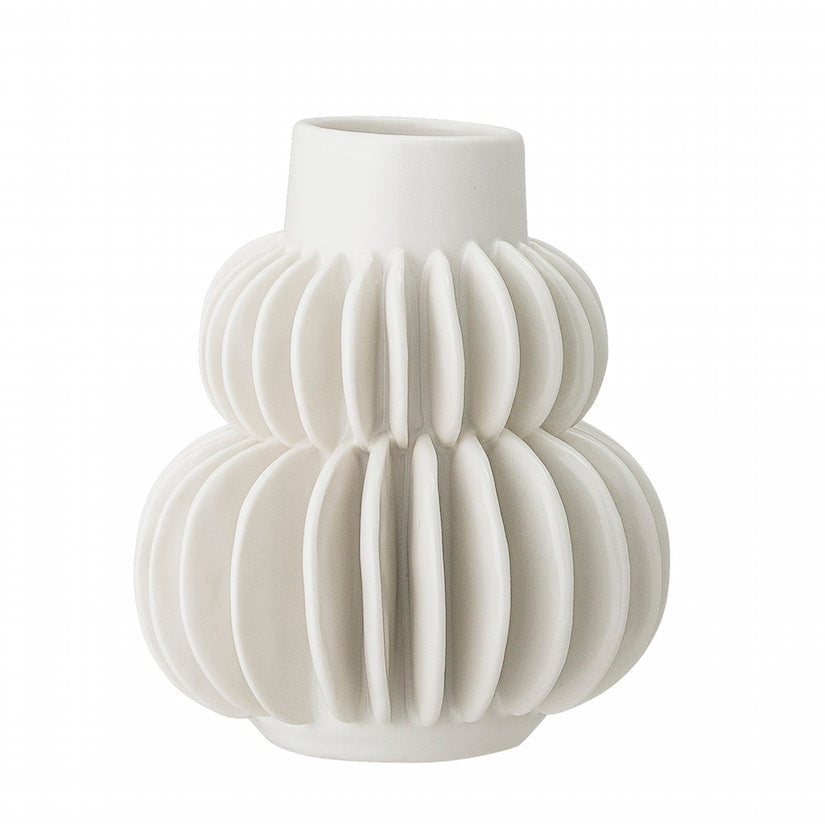 Vase White Stoneware with Circular Shapes