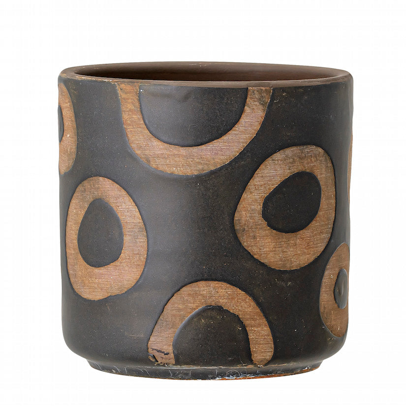 Deco Flowerpot Black Terracotta Circles