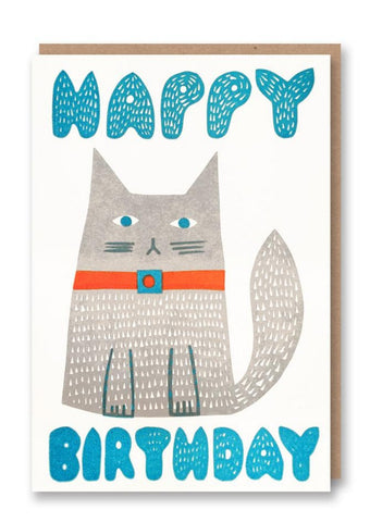 Happy Birthday Cat Greeting Card