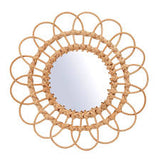 Rattan Mirror Large Beige