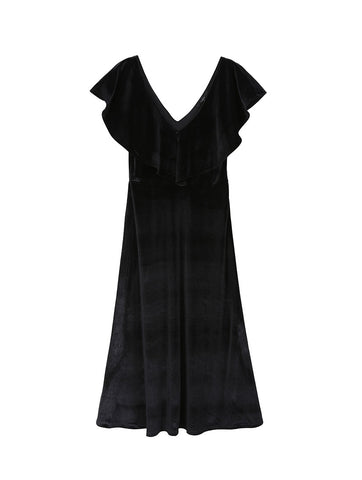 Anka Black Velvet Dress