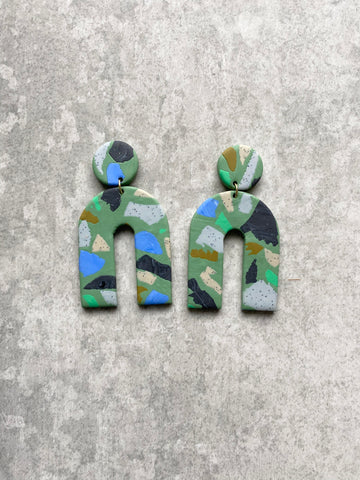 Terrazzo Arch Sage Earrings