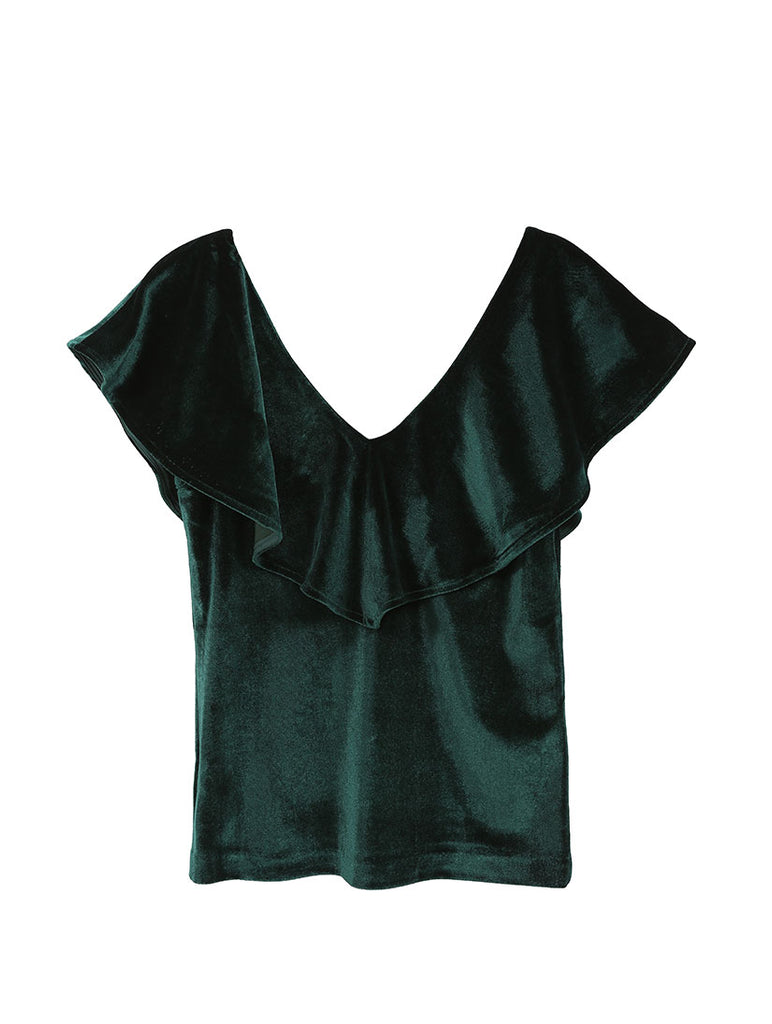 Ceca Green Velvet Top