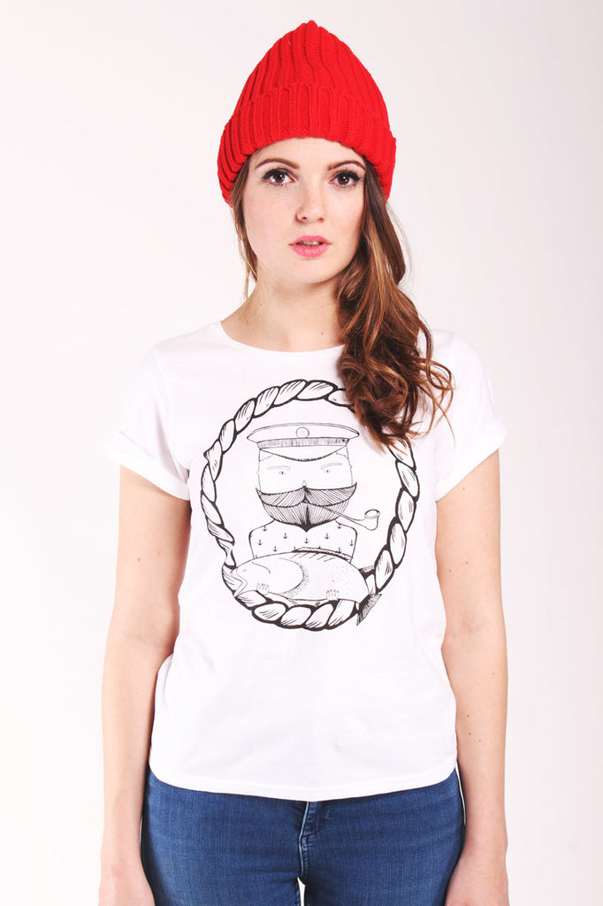 captain tash white tshirt with sailor fish and moustache