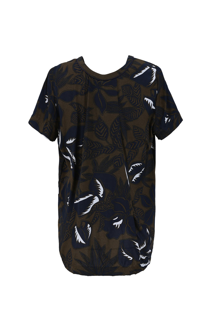 Khaki Leaf Print Top