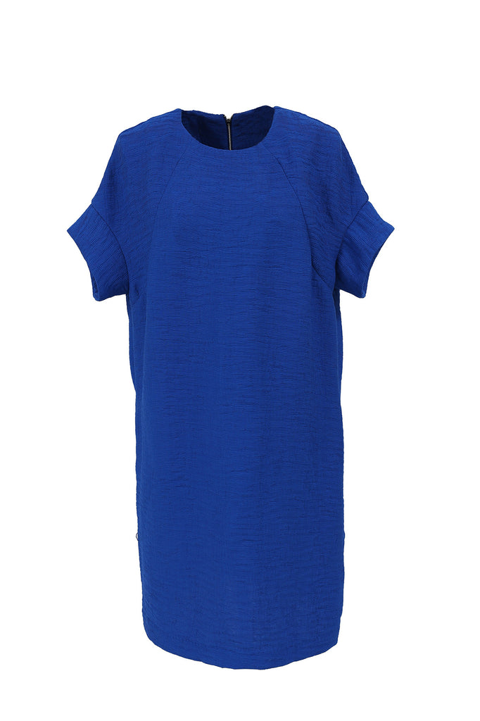 FRNCH Textured electric blue dress with a wide sleeve cuff