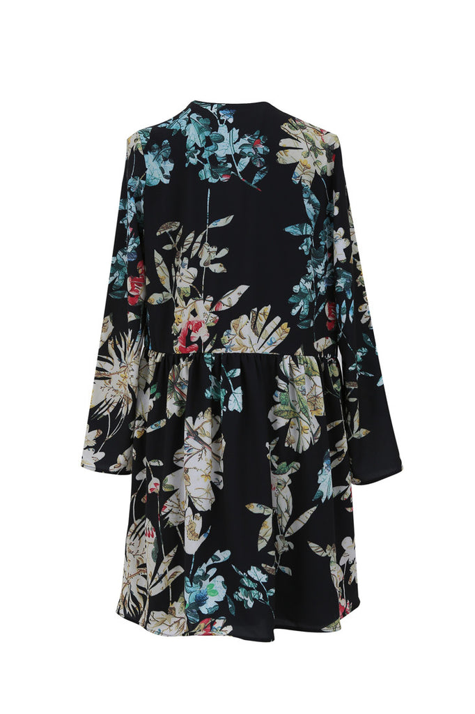 FRNCH black botanical print flower dress