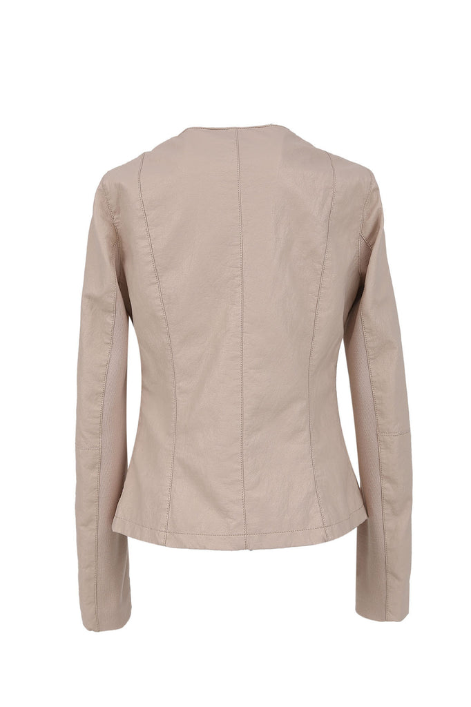 FRNCH Biege faux leather and jersey jacket