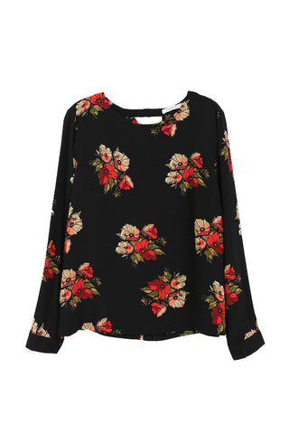 Black Top with Red Flowers