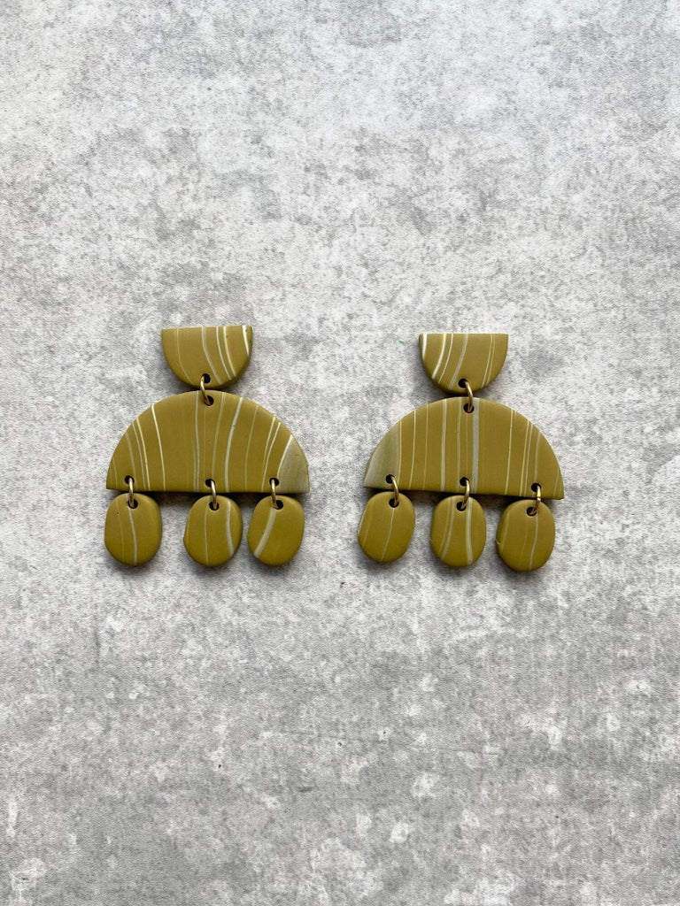 Dot and Dangle Earring Olive