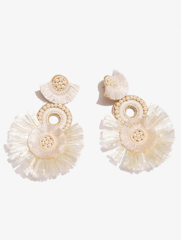 Fringed Statement Earrings Ivory