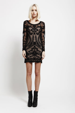 Skip A Beat Black Lace Embroidered Dress