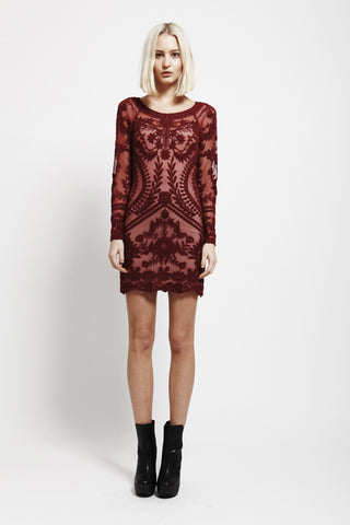 Skip A Beat Maroon Lace Embroidered Dress