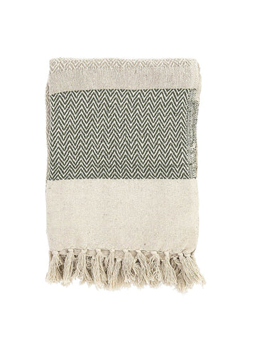 Woven Cotton Mix Throw Green