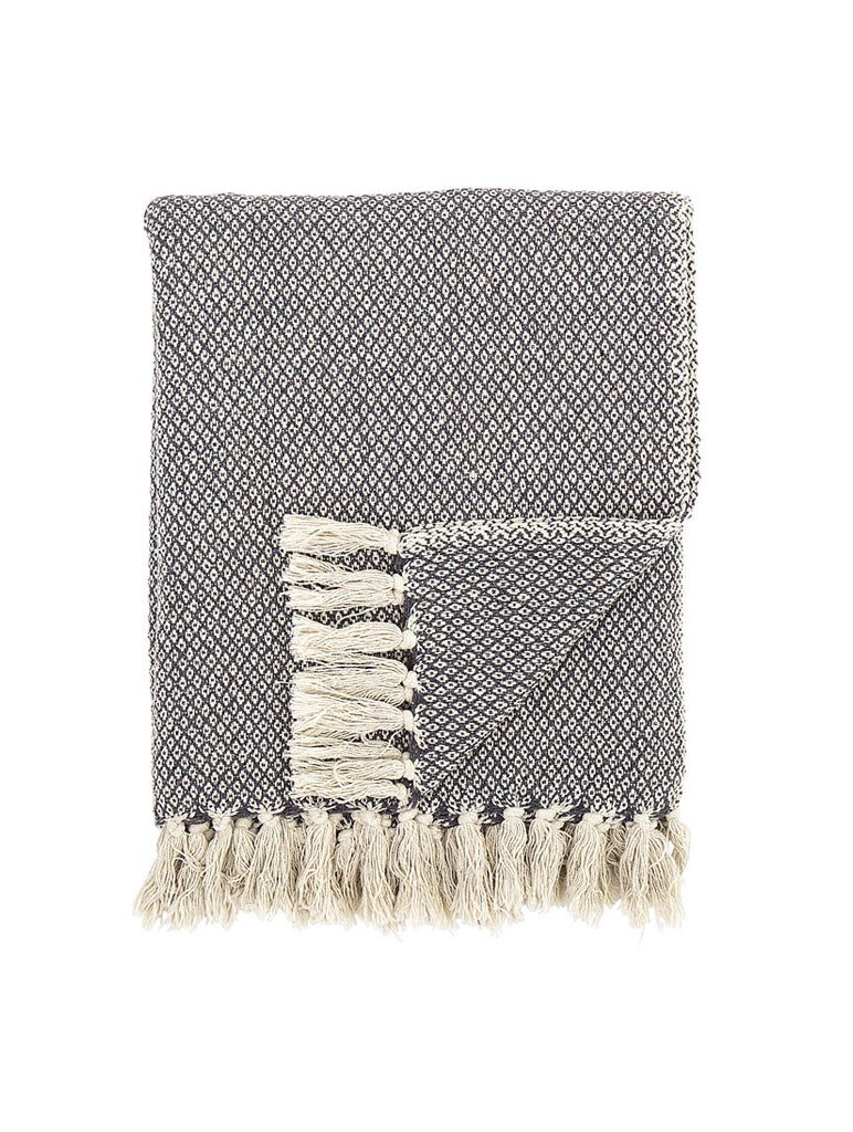 Woven Cotton Mix Throw Grey