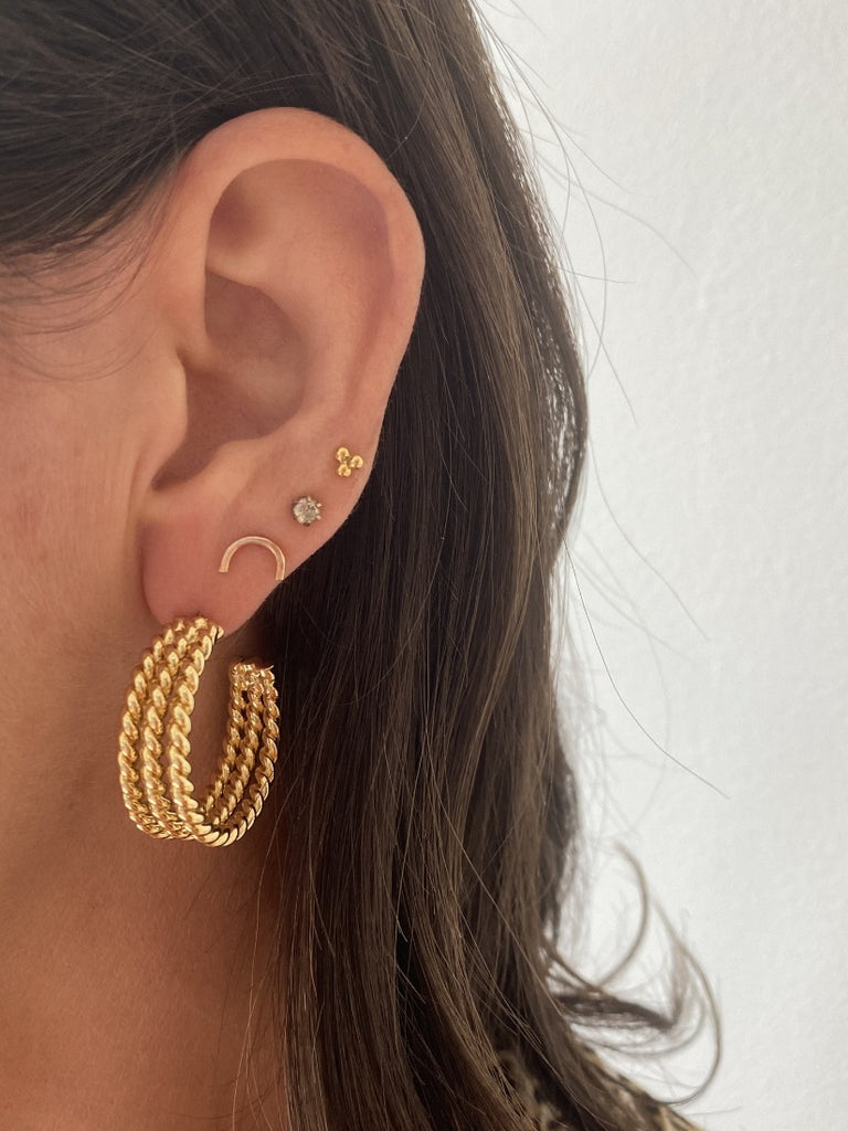 Petra Chain Chunky Plated Brass Hoop Earrings