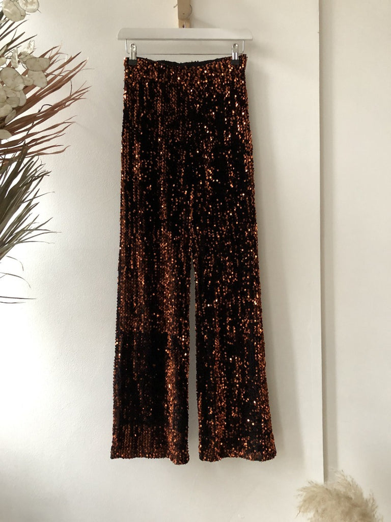 Whitney High Waist Trousers Black Sequin