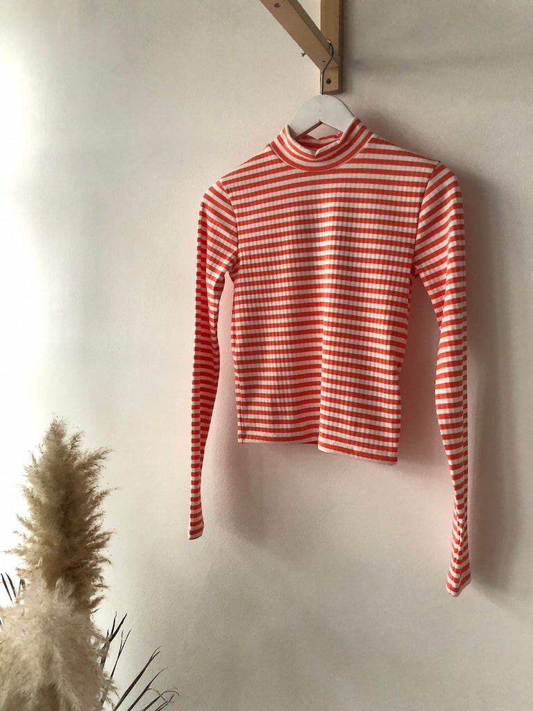 Raya Rib Crop Top Coral Stripe