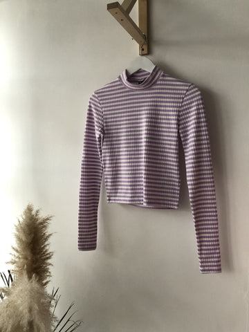 Raya Rib Crop Top Orchid Stripe