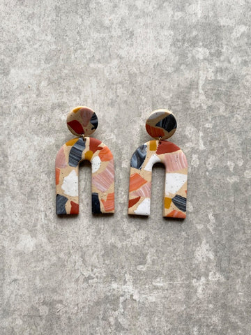 Terrazzo Arch Rust Earrings