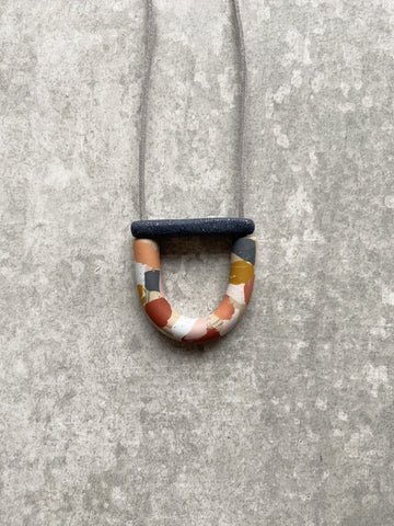 Mini Arc and Bar Necklace Rust