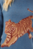 Suri Leaping Tiger Sweater Pale Blue