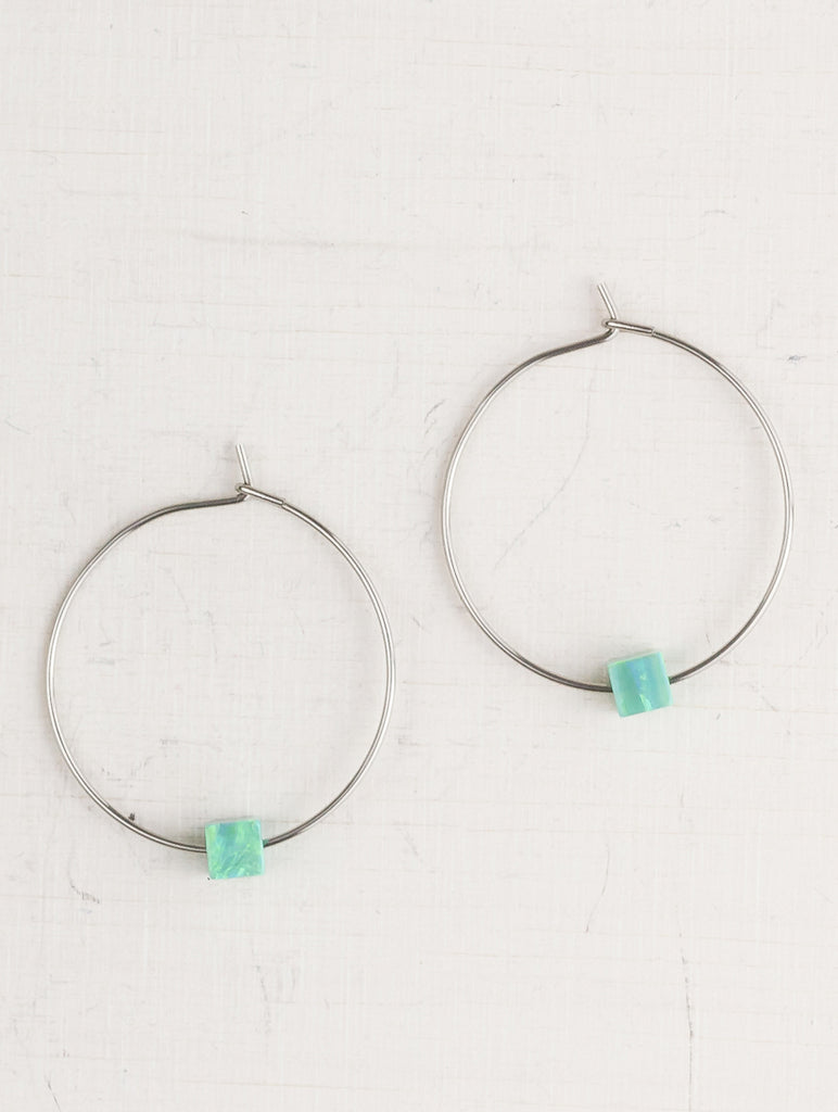 Green Opal Stone Hoop Earrings
