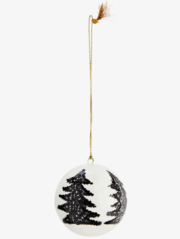 Papier Mache Ball With Handpainted Trees Black/Gold