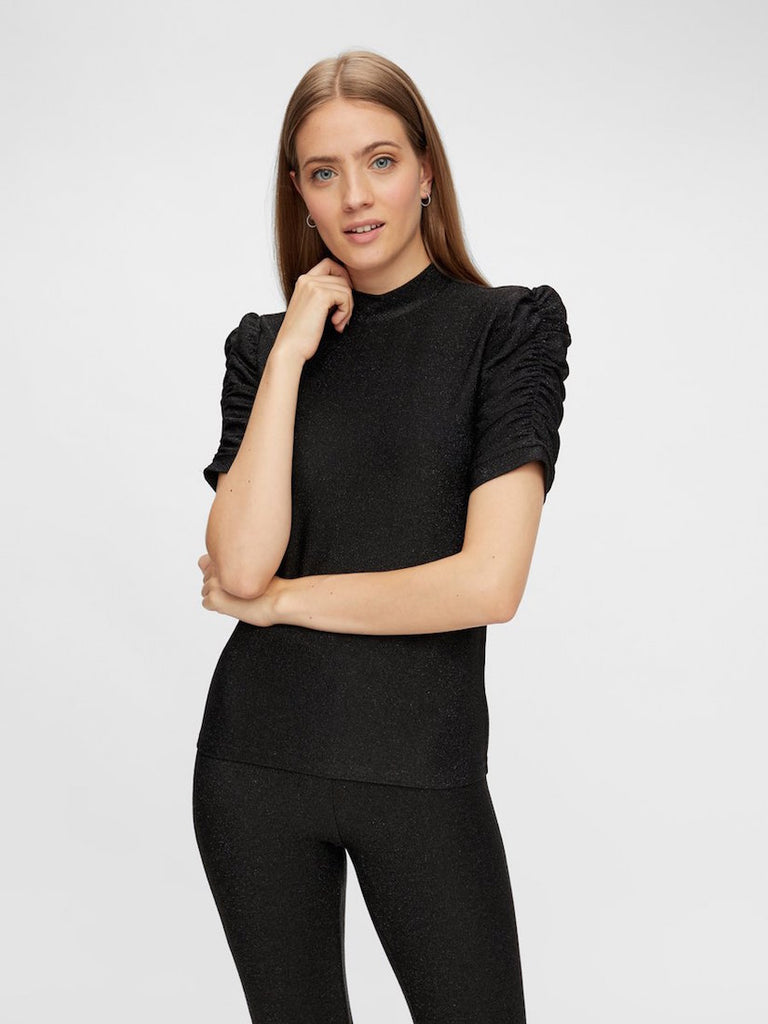 Rina Puff Sleeve Lurex Top Black
