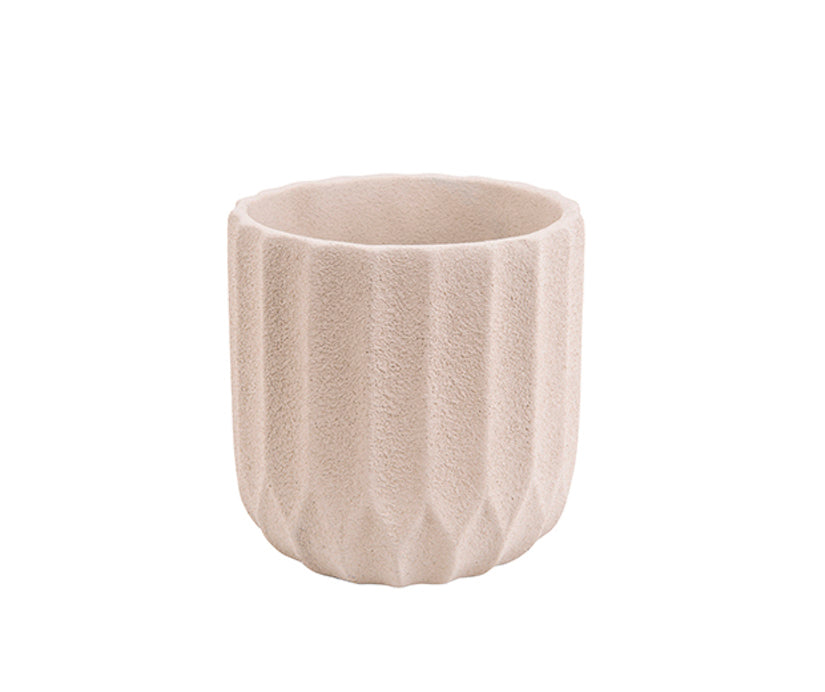 Plant Pot Stripes Cement Small Ivory