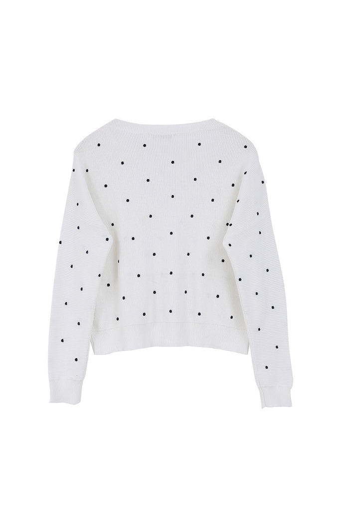 FRNCH white jumper with black polka dots