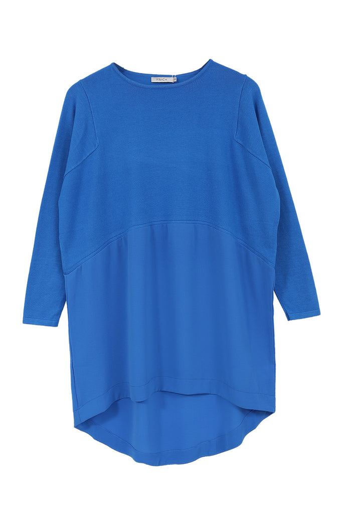 Electric blue slouch fit tunic dress with a fine knit top