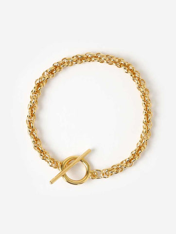 Rope Chain T Bar Bracelet Gold