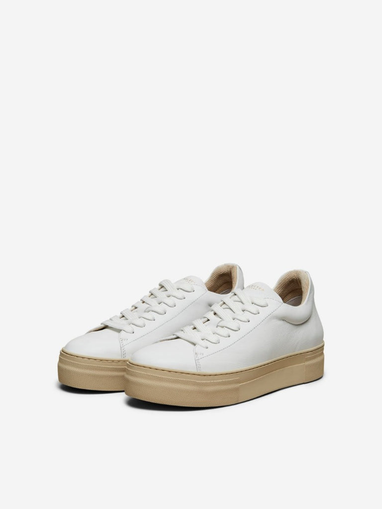 Hailey Leather Trainers White