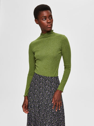 Linna Long Sleeve T-Neck Twist of Lime