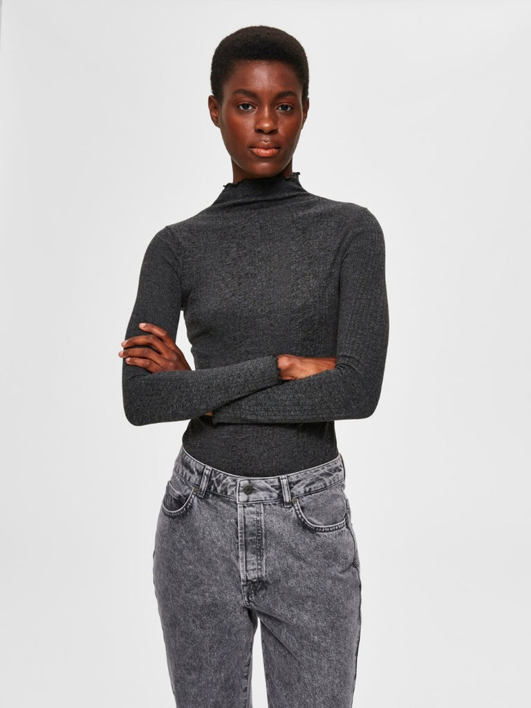 Linna Long Sleeve T-Neck Dark Grey Melange