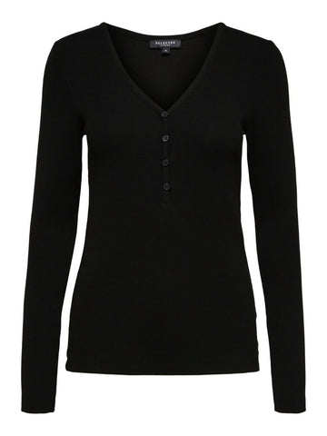 Nanna Long Sleeve Top Solid Black