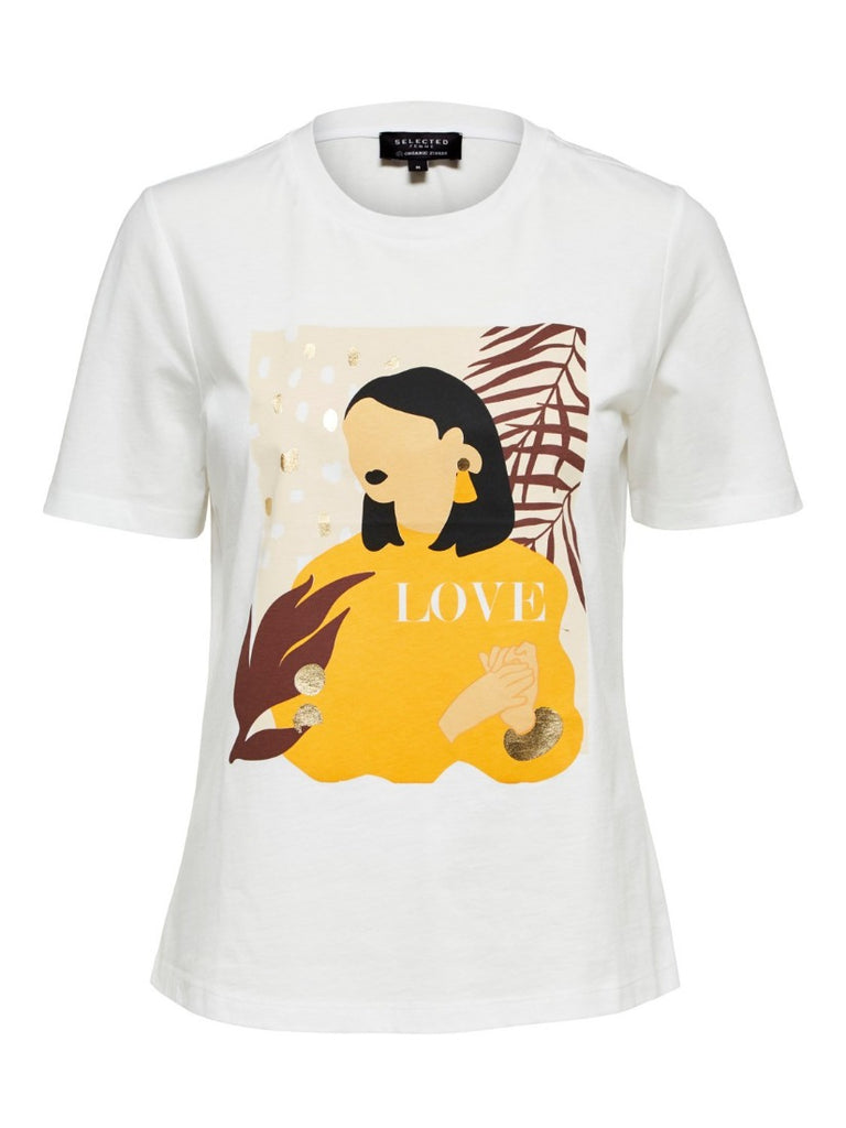 Woman Love Printed Tee Bright White
