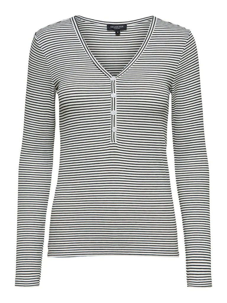Nanna Long Sleeve Stripe Top Bright White