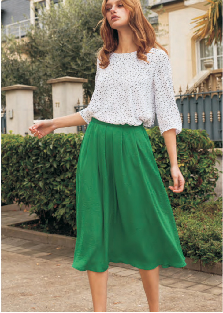 FRNCH green midi skirt