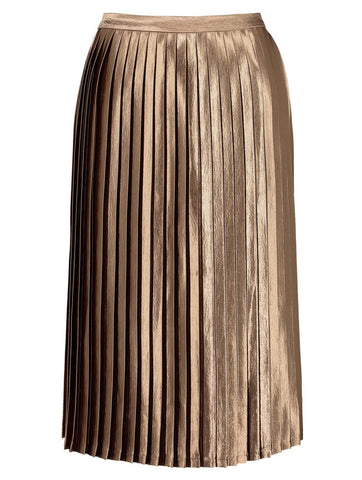 Lynette Bronze Pleated Midi Skirt