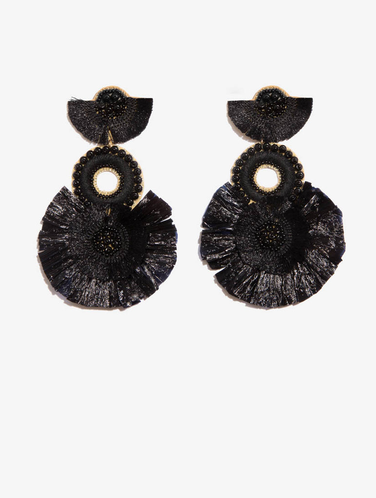 Fringed Statement Earrings Black