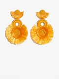 Fringed Statement Earrings Yellow