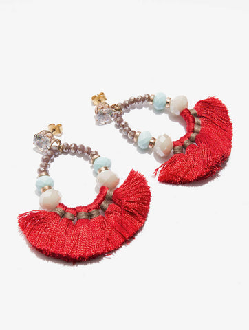 Coral Tassel Beaded Earnings