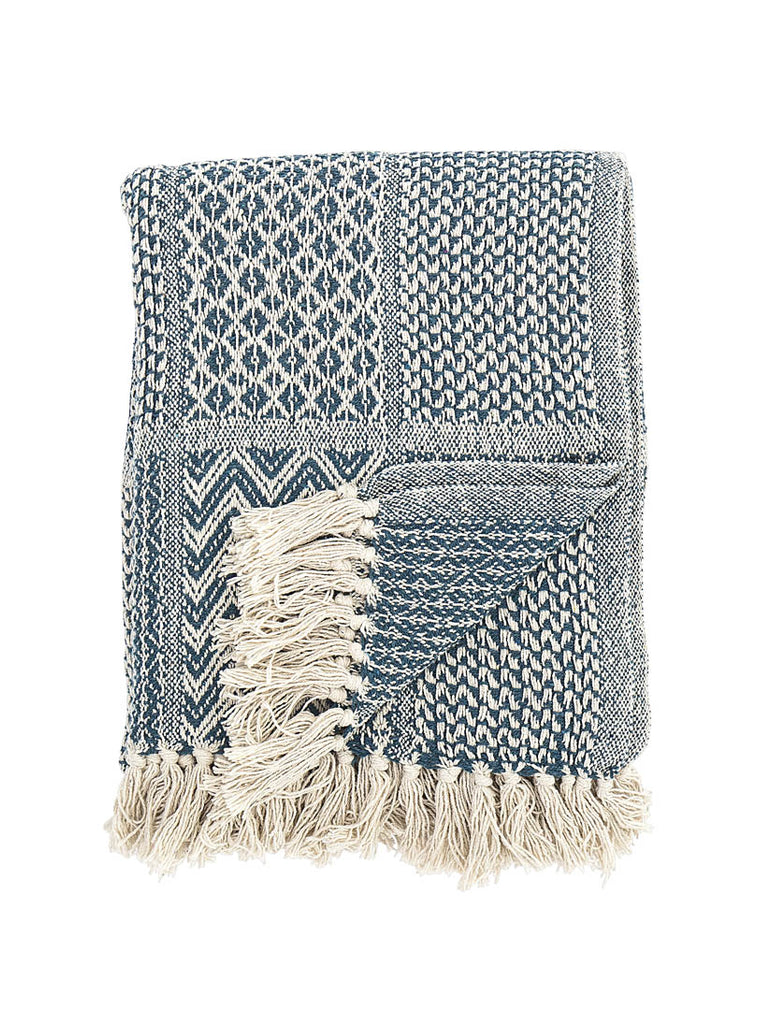 Woven Cotton Mix Throw Blue